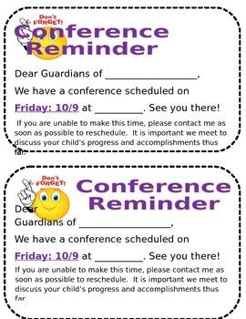 parent conference form reminder