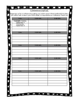 parent conference sign up form