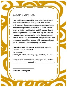 Parent letter for /l/ sound- Speech Therapy