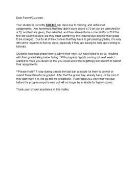 parent notification of student failing your class