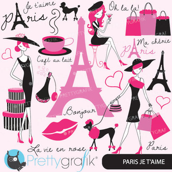 paris fashion clipart for scrapbooking, commercial use, ve
