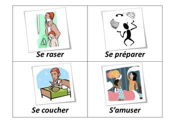 parler de ses habitudes - verbes pronominaux illustrés FLASCH CARDS