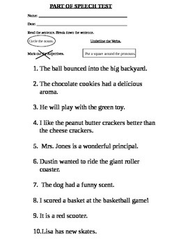 part of speech test for second grade