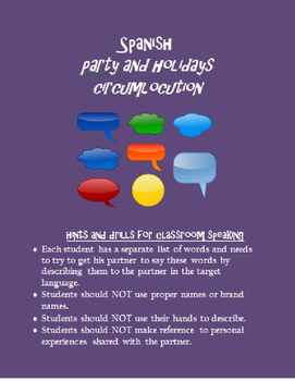 parties and holidays circumlocution SPANISH