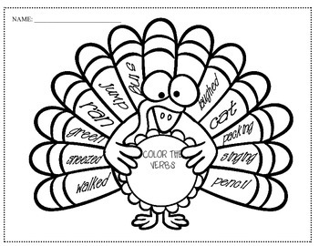 parts of speech ( Thanksgiving themed) verbs, nouns, and adjectives