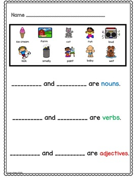 parts of speech anchor chart and activities