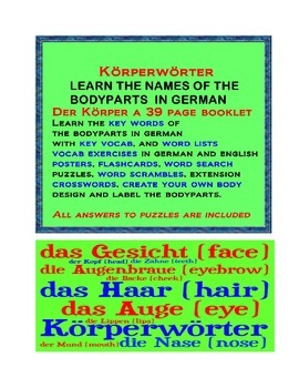 parts of the body in German. Körperwörter.   THE PARTS OF