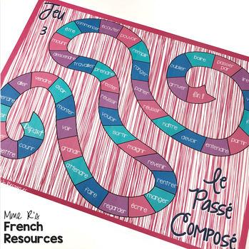 Passé composé board game with avoir and être verbs JEU DE VERBES