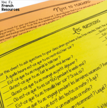 French passé composé speaking activity with avoir and être