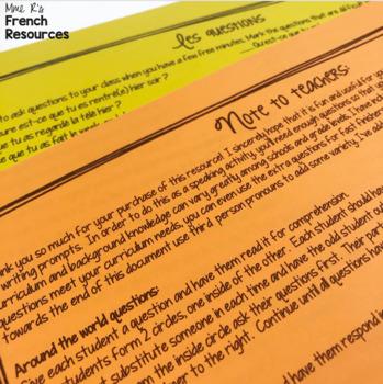 French speaking activity passé composé COMMUNICATION ORALE