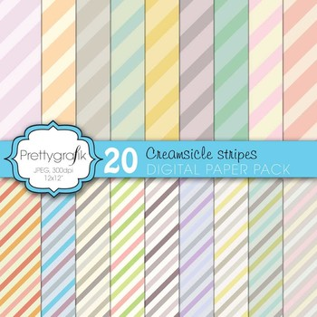 pastel stripes digital paper, commercial use, scrapbook papers - PS611