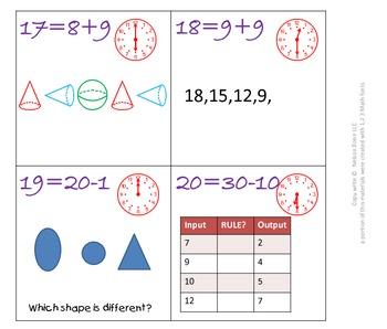 1st Gr & 2nd Grade Math Calendar - Patterns, Time, Fact Families, Geometry