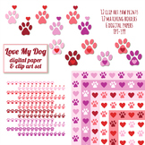 Valentine's day clipart and digital paper with paw print pattern