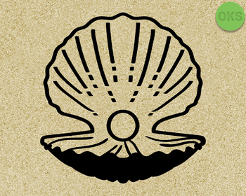 pearl clam oyster SVG cut files, DXF, vector EPS cutting file instant download
