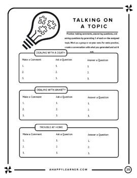 Staying on Topic-Speech Therapy Social/Conversational Skills for Older Students