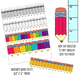 pencil clipart with headers/footers - grayscale, colored pencil, black and white