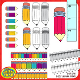 pencil clipart with headers/footers - grayscale, colored p