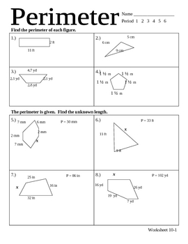 perimeter worksheet by Stone | Teachers Pay Teachers