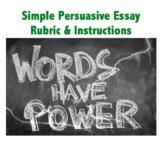 persuasive essay rubric & instructions