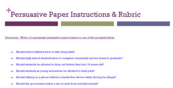 persuasive essay rubric & instructions