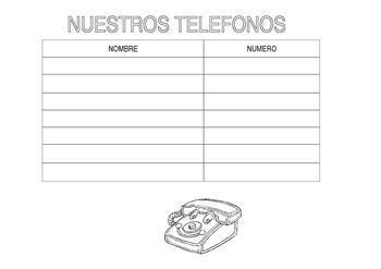 phone list in Spanish