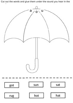 phonics cut and paste worksheet