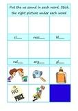 phonics ue - long u - cut and stick worksheet