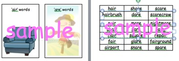 Phonics screen support. word /family sorting  covers 20 sh