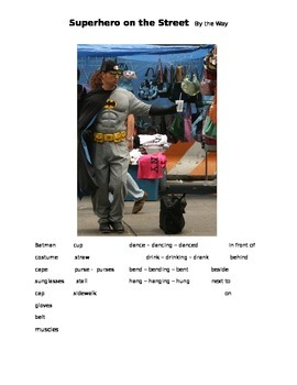Superhero on the Street - By the Way ESOL language prompt, sub plans