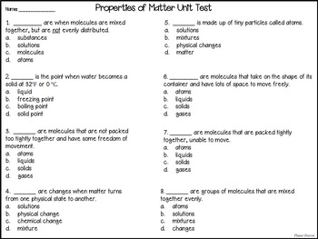 physical properties of matter physical science unit
