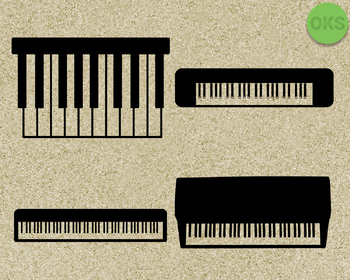 piano, keyboard SVG cut files, DXF, vector EPS cutting file instant download