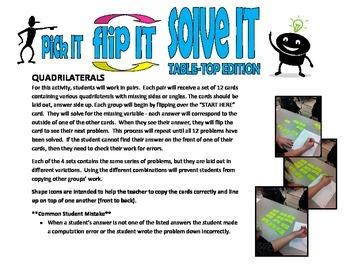 pick IT-flip IT-solve IT TABLE-TOP EDITION(quadrilateral properties)