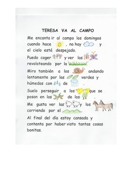 En español.Texto con pictogramas. Rebus story.