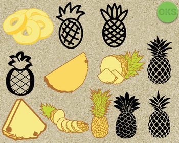 pineapple, fruit SVG cut files, DXF, vector EPS cutting file instant download