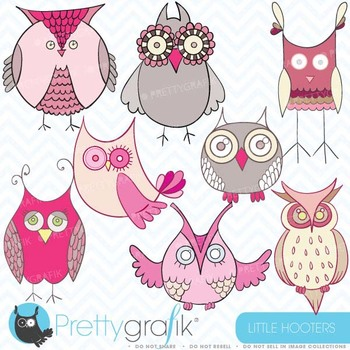 pink owl clipart commercial use, vector graphics, digital clip art - CL325