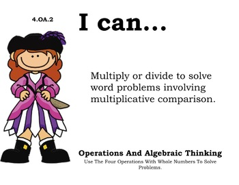 pirate Theme 4th Fourth Common Core Posters Math Mathematics Posters