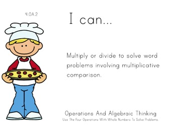 pizza Theme 4th Fourth Common Core Posters Math Mathematic