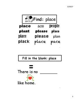 place sight word mini book