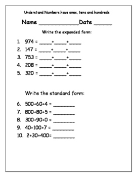 place value assessments