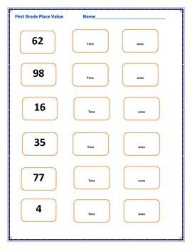 place value worksheet tens ones