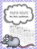 plural nouns pretest, posttest, and retest