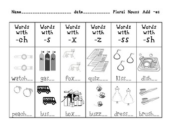 plural nouns with -es activities ch, s, x, z, ss, and sh