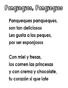 poem pancakes spanish/ Poema de panqueques en espanol
