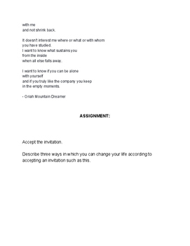poetry exercise - worksheet on 'The Invitation' by Oriah Mountain Dreamer