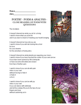 poetry exercise - worksheet on 'The Invitation' by Oriah M