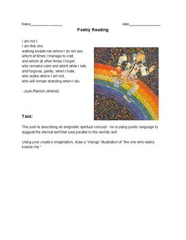poetry manga assignment - using Juan Ramón Jiménez's - POEM - I am not I -