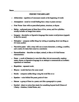 poetry vocab and assignment