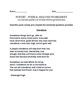 poetry worksheet - Sometimes - Sheenagh Pugh - poem, close reading questions