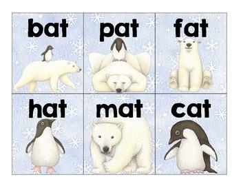 polar pals word family sort: -at, -et, -it, -ot