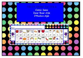 polka dot ALPHABET DESK STRIP comic sans, zaner-boser and D'Nealian style fonts